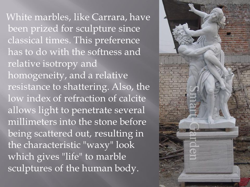 White marbles, like Carrara, have been prized for sculpture since classical times.