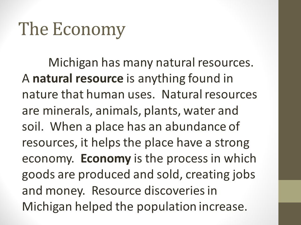 The Economy Michigan has many natural resources.