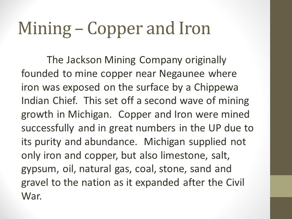 Mining – Copper and Iron The Jackson Mining Company originally founded to mine copper near Negaunee where iron was exposed on the surface by a Chippewa Indian Chief.