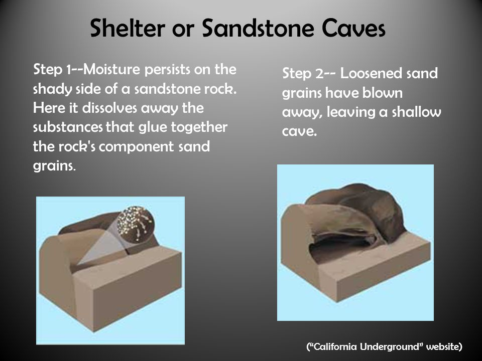 Shelter or Sandstone Caves Step 1--Moisture persists on the shady side of a sandstone rock.