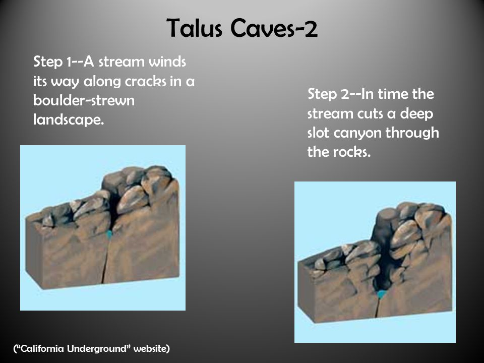 Talus Caves-2 Step 1--A stream winds its way along cracks in a boulder-strewn landscape.