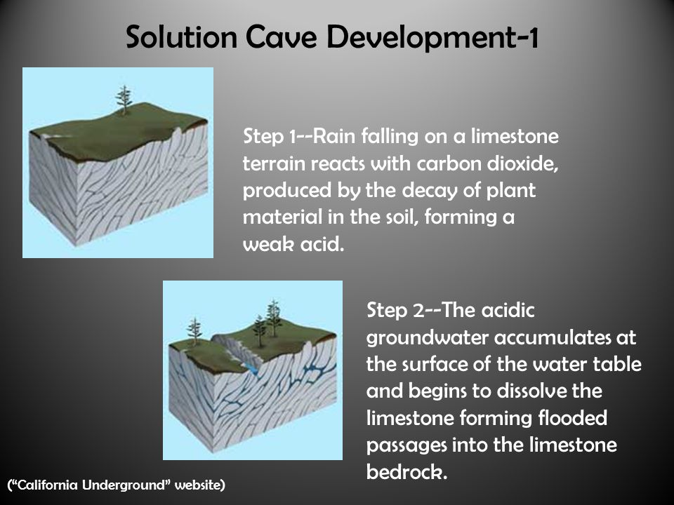Solution Cave Development-1 Step 1--Rain falling on a limestone terrain reacts with carbon dioxide, produced by the decay of plant material in the soil, forming a weak acid.