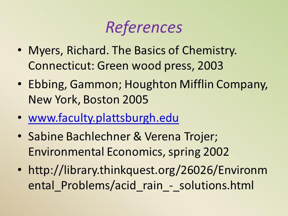References Myers, Richard. The Basics of Chemistry.