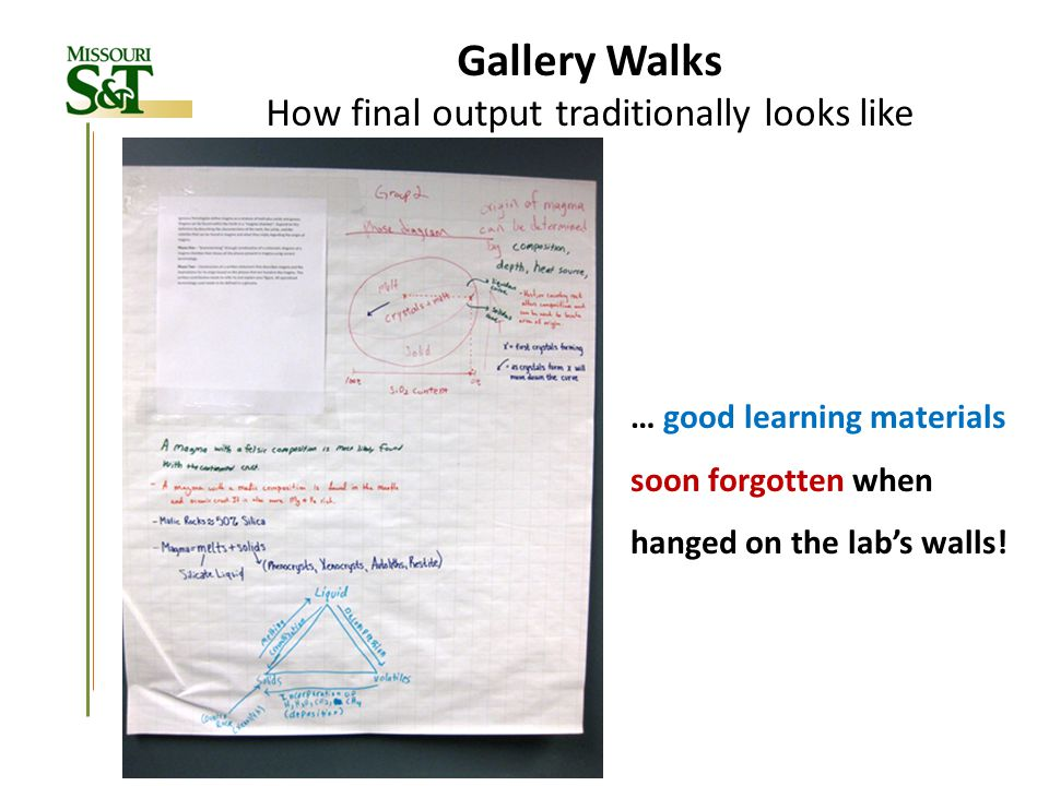 Gallery Walks & Wikis Some lesson learned from first implementations Lecture Lab Homework Wikis Overloading the student is easy Currently student workload balanced by transforming homework assignments into Gallery Walk & Wiki problems; Above 16 12 to 16 (12 or less) Credit-hours load Work load