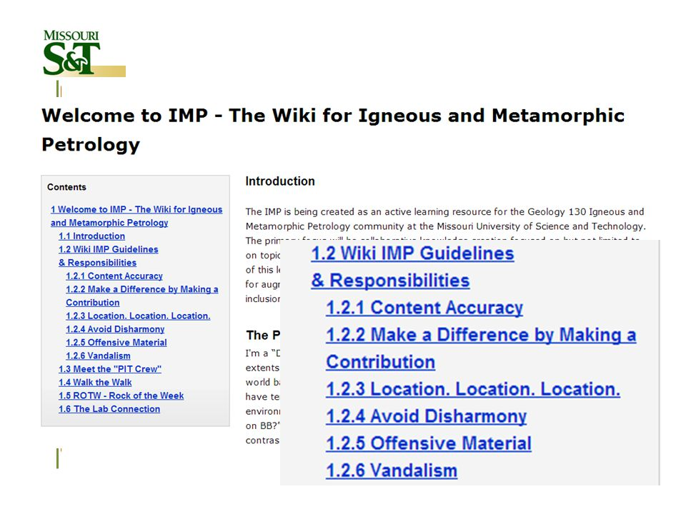 Wikis for Gallery Walks Structure of instructional activities Introduce the PIT crew -Warm-up activity in Wiki environment -Takes place before first Gallery Walks Gallery Walk's Wiki page -Each Gallery Walk has its own page -Each group has a section -About 1 week to complete the Wiki task Peer & Instructor Formative Assessment -Each group has to assess two other Wikis -An evaluation rubric is provided -Assessment scores summarized & sent to each group Wiki Classroom Presentation -One student from each group will present the main points for the entire class