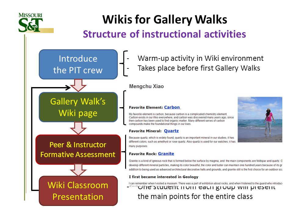 Wikis for Gallery Walks Structure of instructional activities Introduce the PIT crew -Warm-up activity in Wiki environment -Takes place before first G