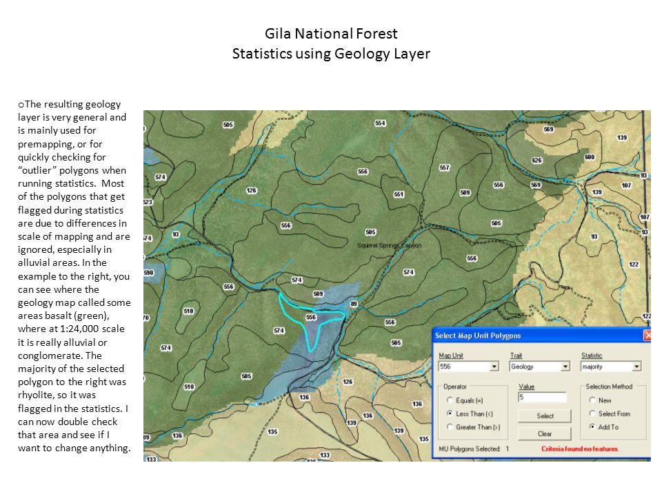 Gila National Forest Statistics using Geology Layer o The resulting geology layer is very general and is mainly used for premapping, or for quickly checking for outlier polygons when running statistics.