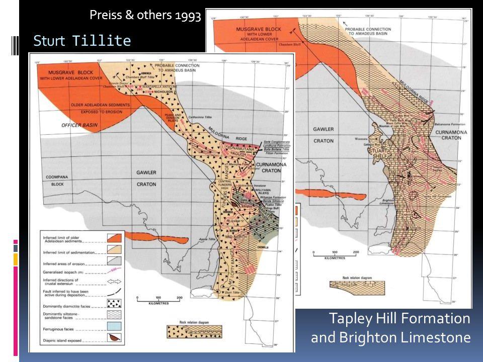 Sturt Tillite Tapley Hill Formation and Brighton Limestone Preiss & others 1993