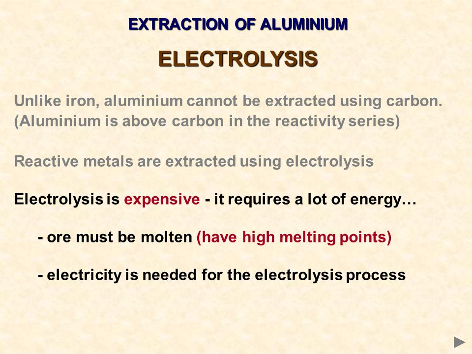 EXTRACTION OF ALUMINIUM ELECTROLYSIS Unlike iron, aluminium cannot be extracted using carbon. (Aluminium is above carbon in the reactivity series) Rea