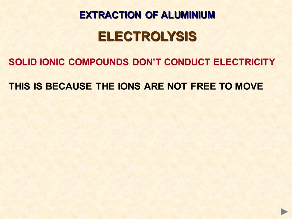 EXTRACTION OF ALUMINIUM ELECTROLYSIS SOLID IONIC COMPOUNDS DON'T CONDUCT ELECTRICITY THIS IS BECAUSE THE IONS ARE NOT FREE TO MOVE