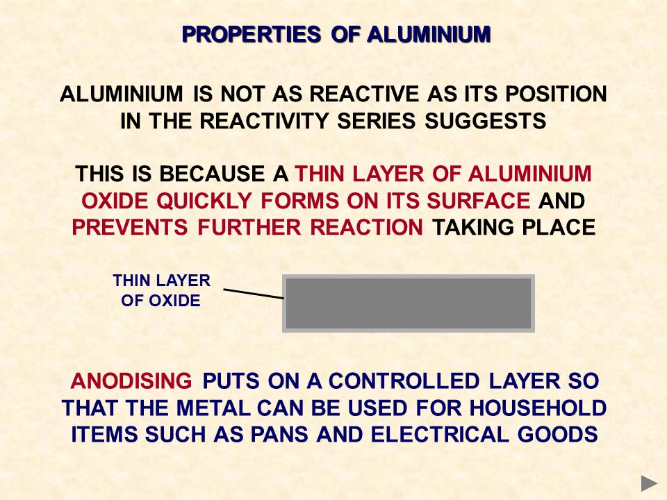 PROPERTIES OF ALUMINIUM ALUMINIUM IS NOT AS REACTIVE AS ITS POSITION IN THE REACTIVITY SERIES SUGGESTS THIS IS BECAUSE A THIN LAYER OF ALUMINIUM OXIDE