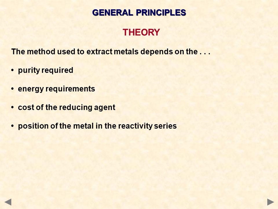 GENERAL PRINCIPLES REACTIVITY SERIES K Na Ca Mg Al C Zn Fe H Cu Ag lists metals in descending reactivity hydrogen and carbon are often added the more reactive a metal the less likely it will be found in its pure, or native, state consequently, it will be harder to convert it back to the metal.