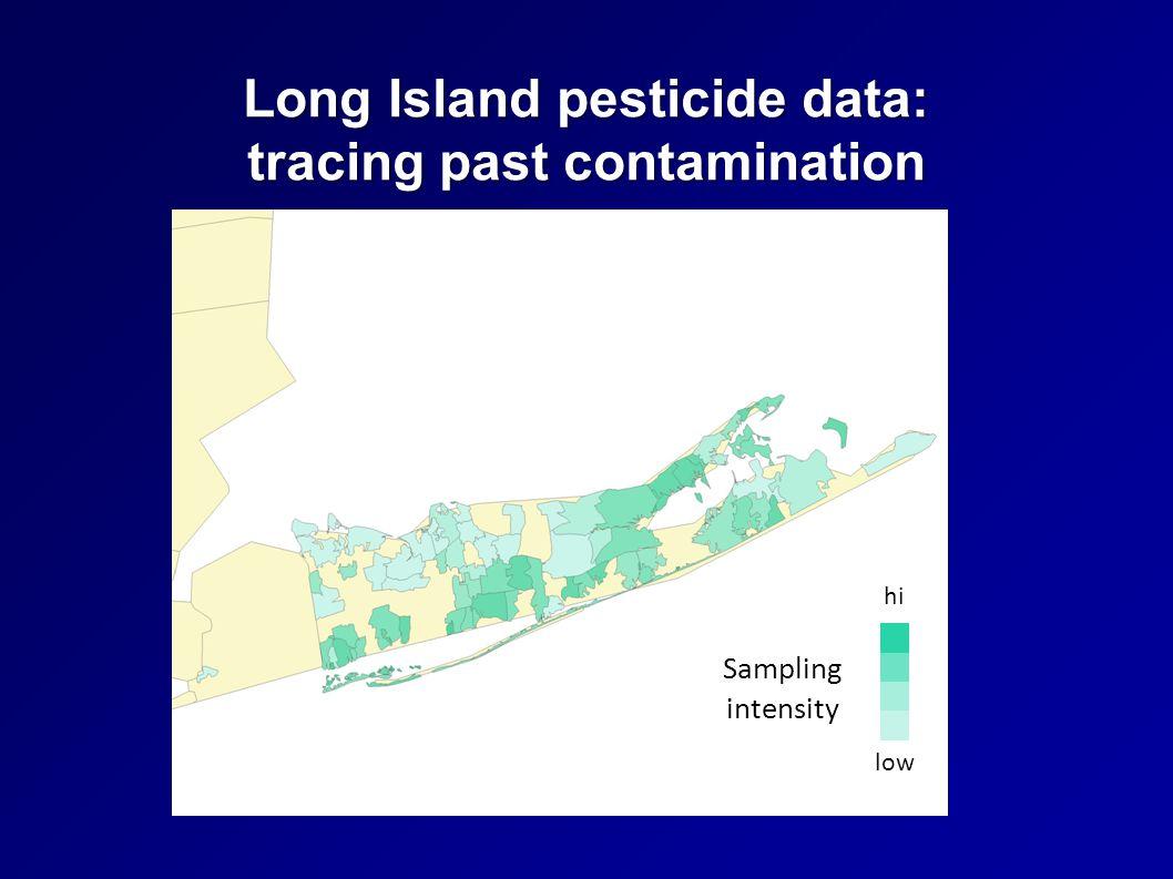 Long Island pesticide data: tracing past contamination Sampling intensity hi low