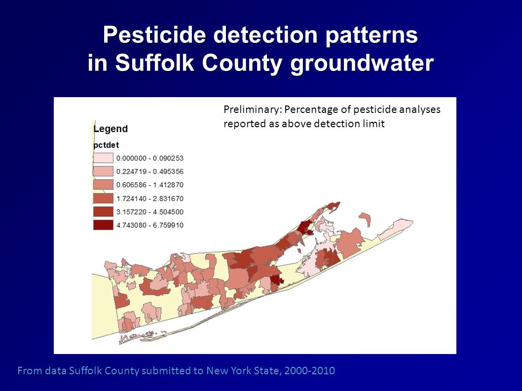 Pesticide detection patterns in Suffolk County groundwater From data Suffolk County submitted to New York State, 2000-2010 Preliminary: Percentage of