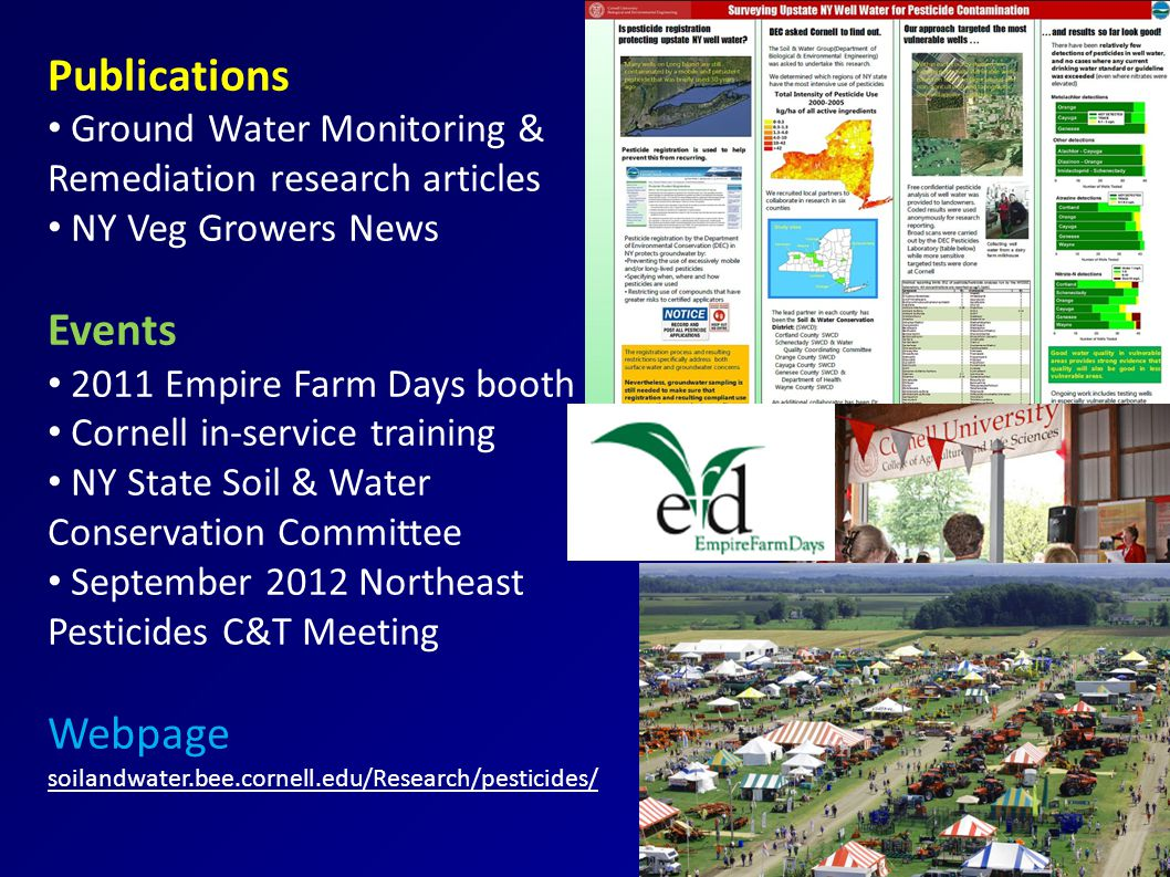 Publications Ground Water Monitoring & Remediation research articles NY Veg Growers News Events 2011 Empire Farm Days booth Cornell in-service training NY State Soil & Water Conservation Committee September 2012 Northeast Pesticides C&T Meeting Webpage soilandwater.bee.cornell.edu/Research/pesticides/