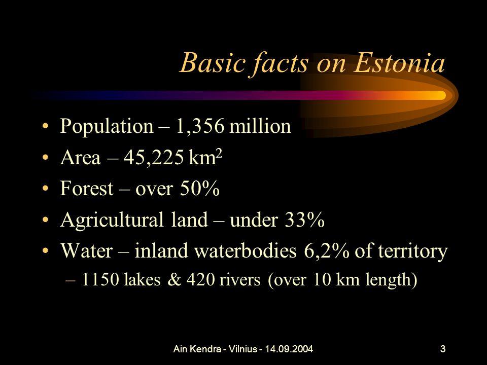 Ain Kendra - Vilnius - 14.09.200434 RDP – Agri-environment Sub-measures: –Environment-friendly production –Organic farming –Endangered species Applications 17.05-15.06.2004 2004 applied: –EFP – 464,000 ha –Organic farming - 42,000 ha
