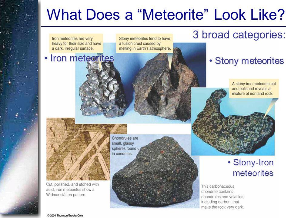 "3 broad categories: Iron meteorites Iron meteorites Stony meteorites Stony meteorites Stony-Iron meteorites Stony-Iron meteorites What Does a ""Meteori"
