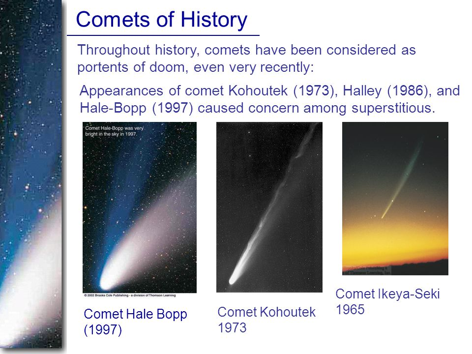 Appearances of comet Kohoutek (1973), Halley (1986), and Hale-Bopp (1997) caused concern among superstitious.