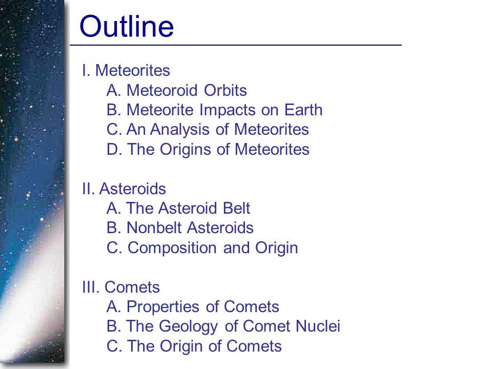 I. Meteorites A. Meteoroid Orbits B. Meteorite Impacts on Earth C. An Analysis of Meteorites D. The Origins of Meteorites II. Asteroids A. The Asteroi