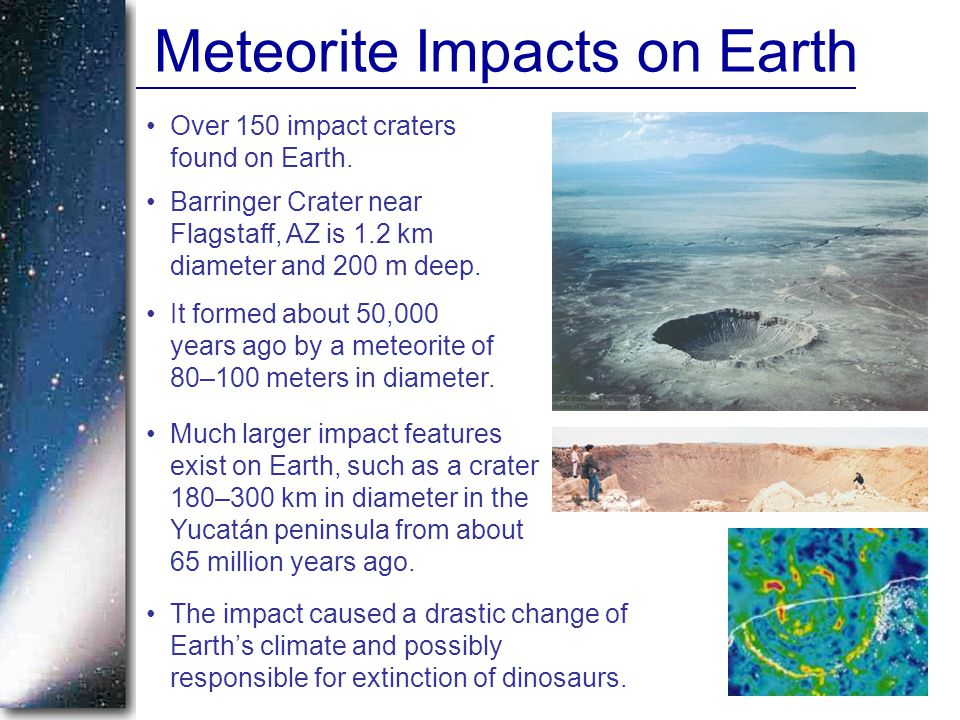 Meteorite Impacts on Earth Over 150 impact craters found on Earth.