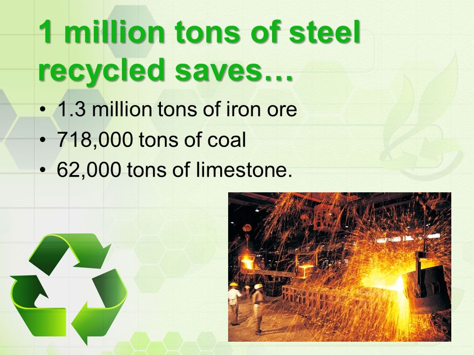 1 million tons of steel recycled saves… 1.3 million tons of iron ore 718,000 tons of coal 62,000 tons of limestone.