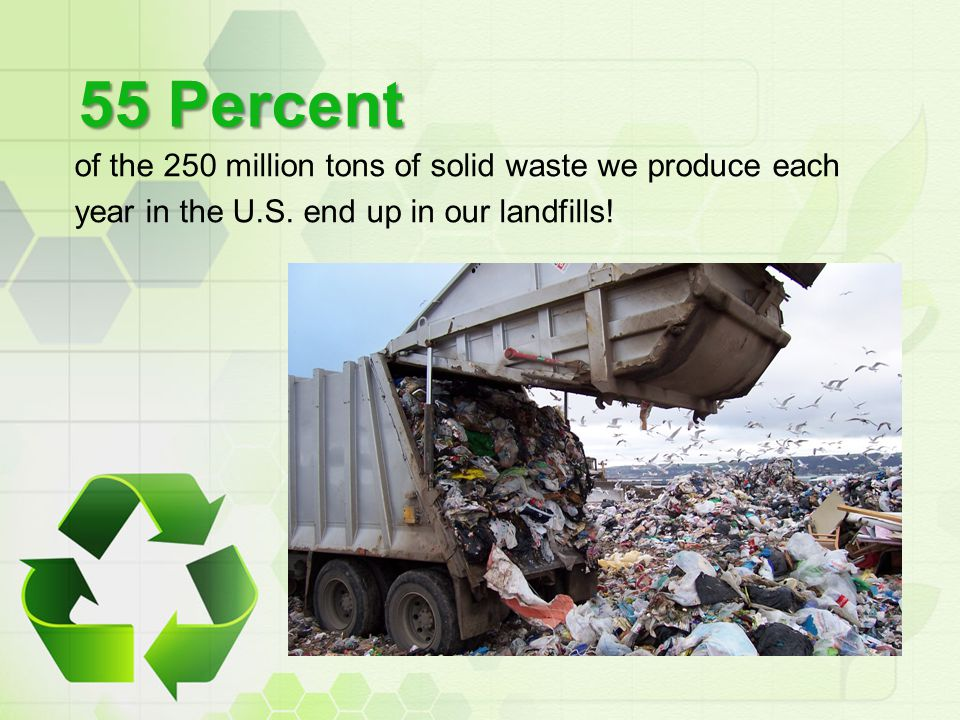 55 Percent of the 250 million tons of solid waste we produce each year in the U.S. end up in our landfills!