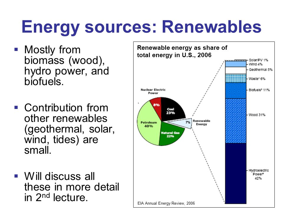 Energy sources: Renewables  Mostly from biomass (wood), hydro power, and biofuels.