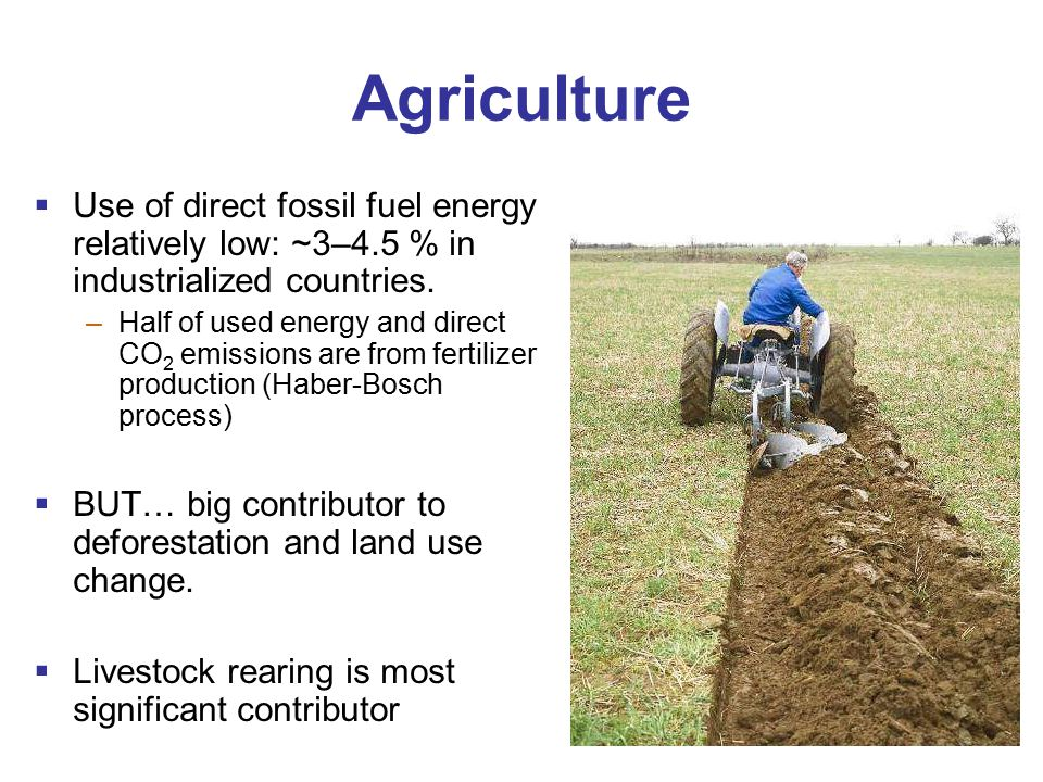 Agriculture  Use of direct fossil fuel energy relatively low: ~3–4.5 % in industrialized countries.