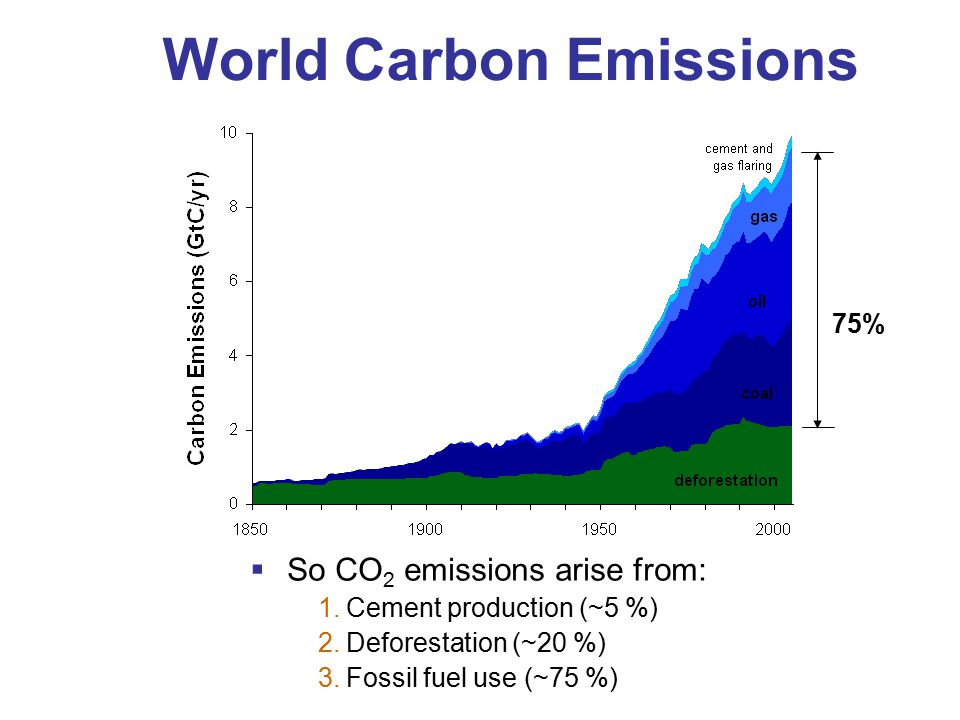  So CO 2 emissions arise from: 1.Cement production (~5 %) 2.Deforestation (~20 %) 3.Fossil fuel use (~75 %) World Carbon Emissions 75%
