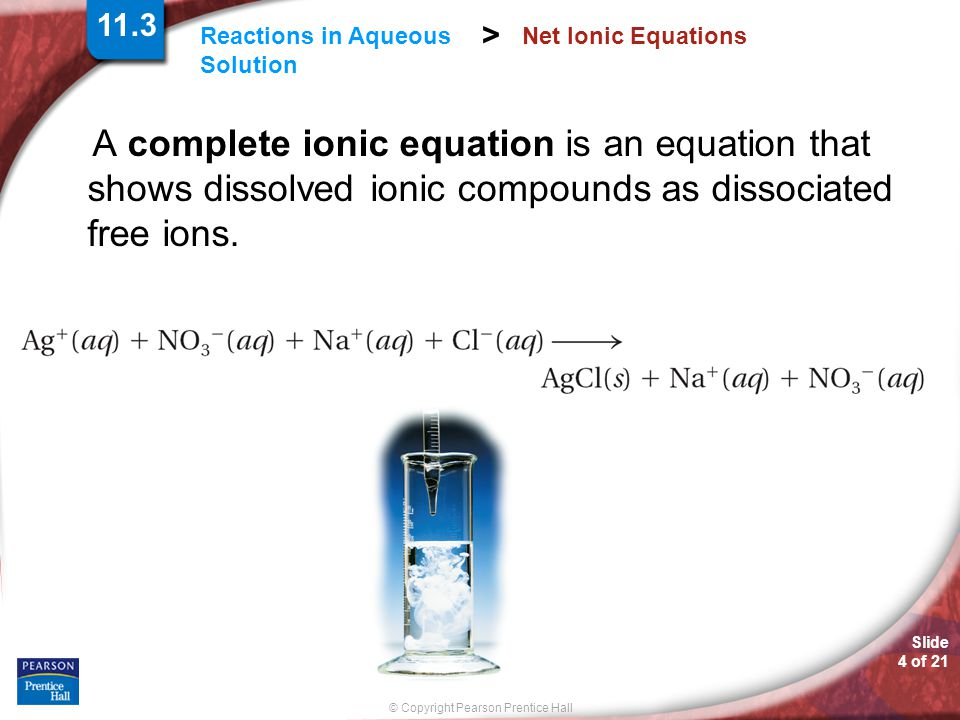 Slide 4 of 21 © Copyright Pearson Prentice Hall Reactions in Aqueous Solution > Net Ionic Equations A complete ionic equation is an equation that shows dissolved ionic compounds as dissociated free ions.