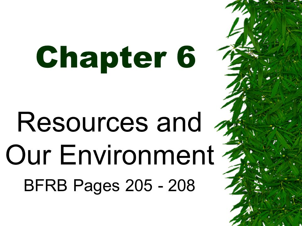 Chapter 6 Resources and Our Environment BFRB Pages