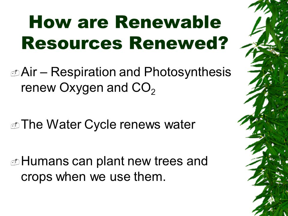How are Renewable Resources Renewed.