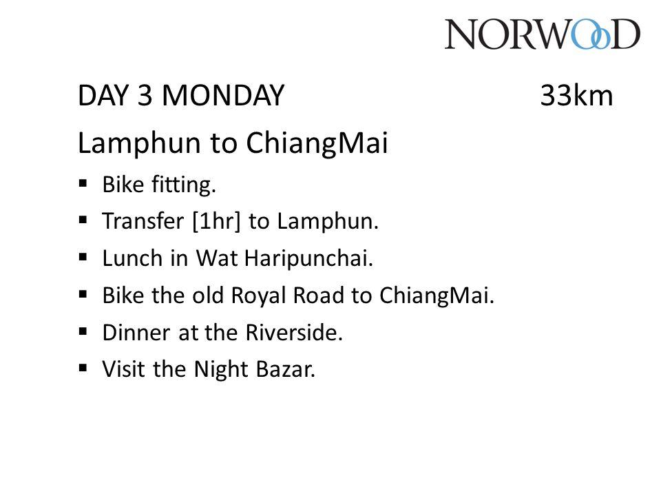 DAY 3 MONDAY33km Lamphun to ChiangMai  Bike fitting.