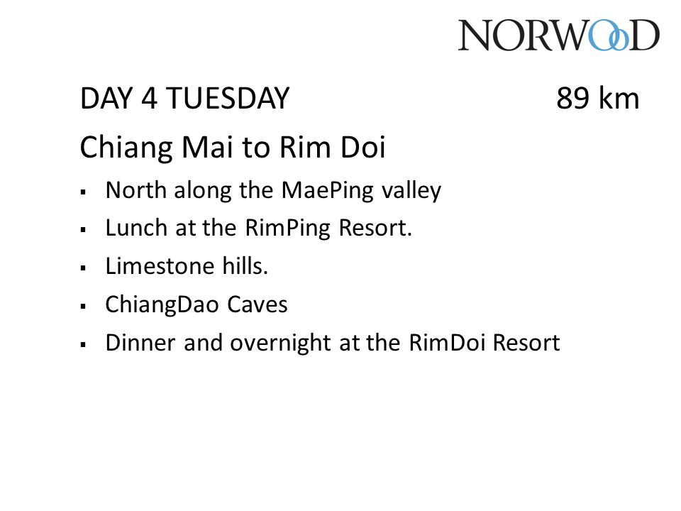 DAY 4 TUESDAY 89 km Chiang Mai to Rim Doi  North along the MaePing valley  Lunch at the RimPing Resort.  Limestone hills.  ChiangDao Caves  Dinne