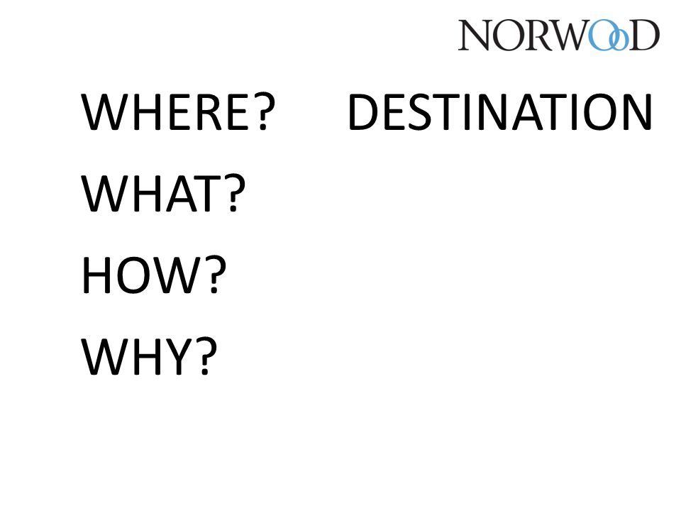 WHERE? WHAT? HOW? WHY? DESTINATION