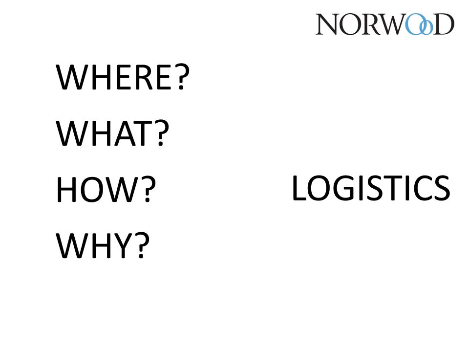 WHERE? WHAT? HOW? WHY? LOGISTICS