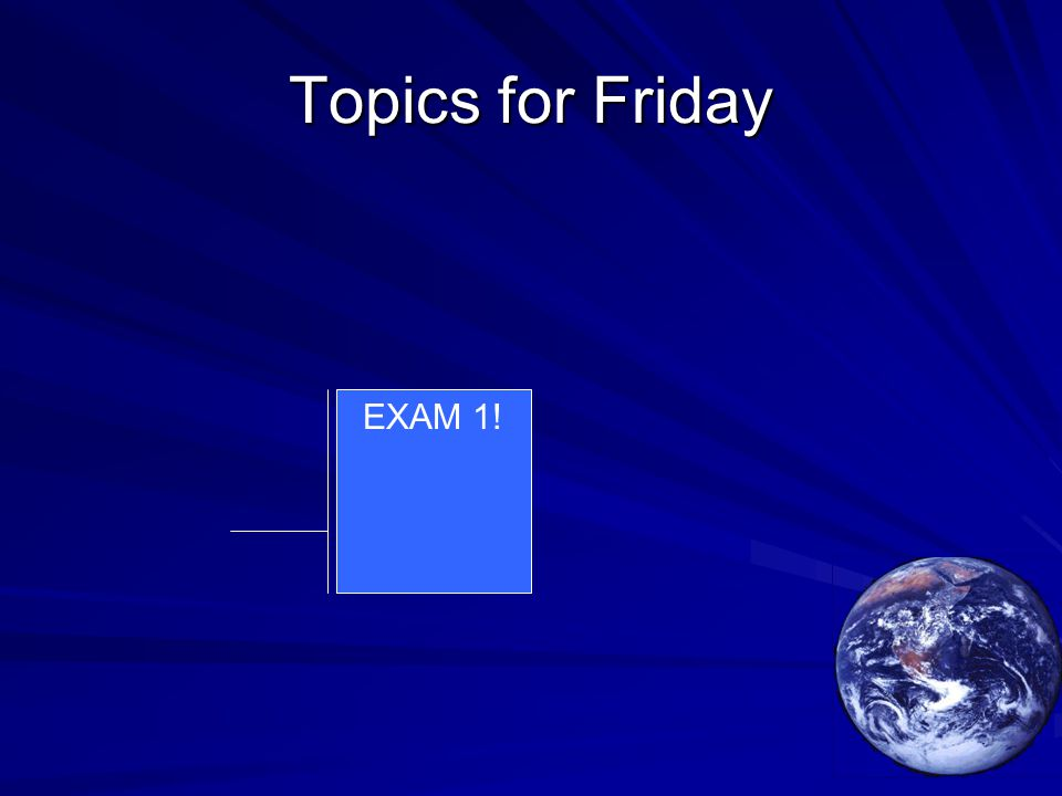 Topics for Friday EXAM 1!