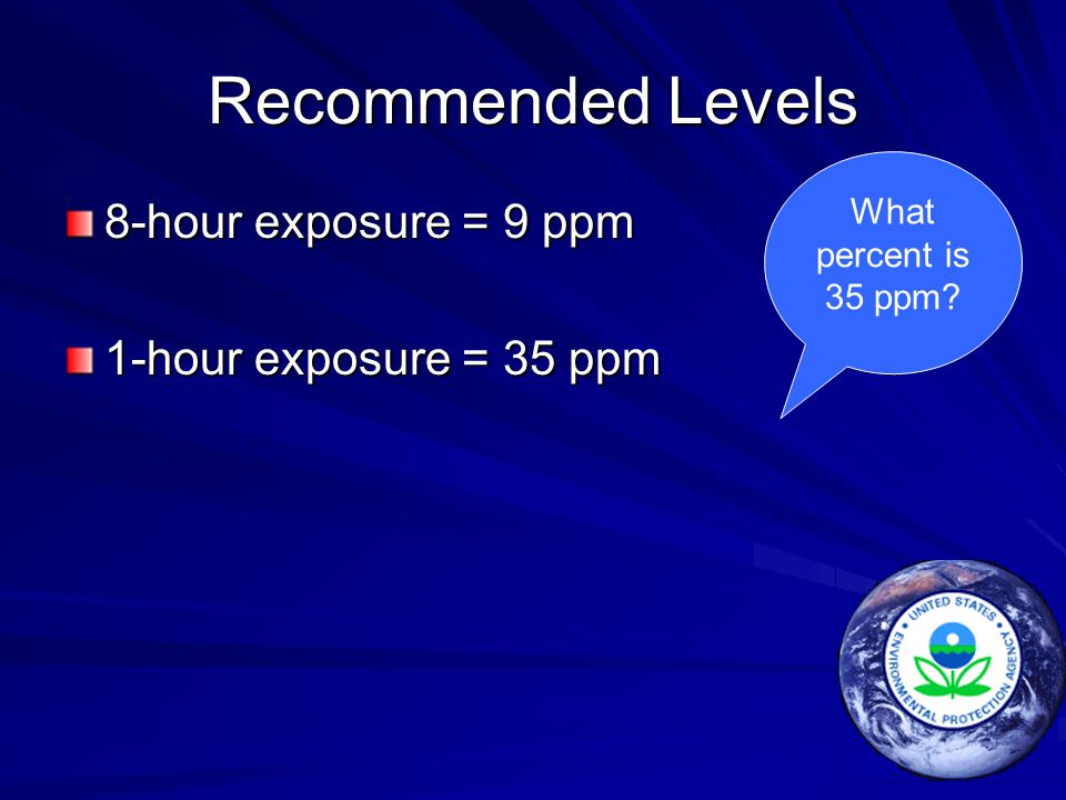 Recommended Levels 8-hour exposure = 9 ppm 1-hour exposure = 35 ppm What percent is 35 ppm?