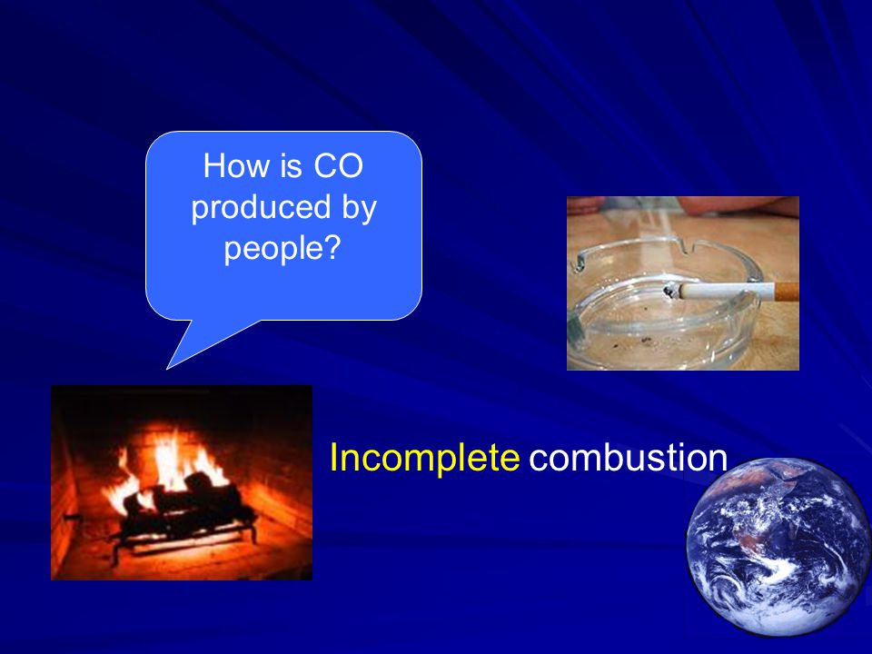 Incomplete combustion How is CO produced by people?