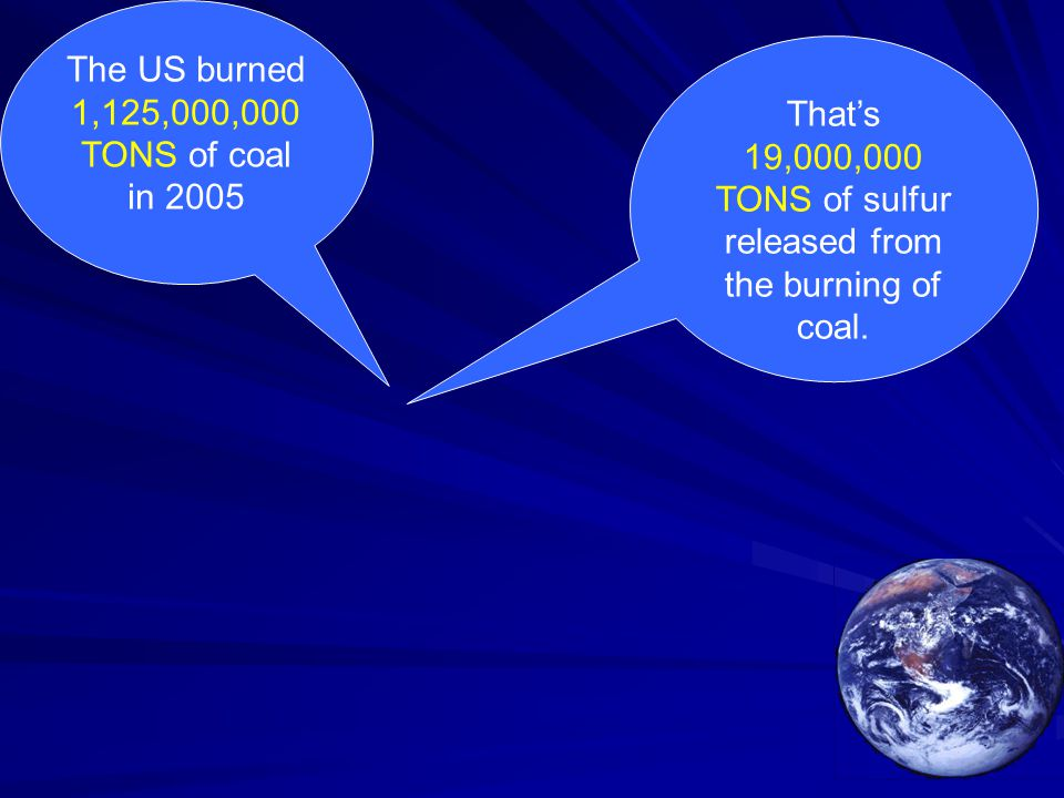 The US burned 1,125,000,000 TONS of coal in 2005 That's 19,000,000 TONS of sulfur released from the burning of coal.