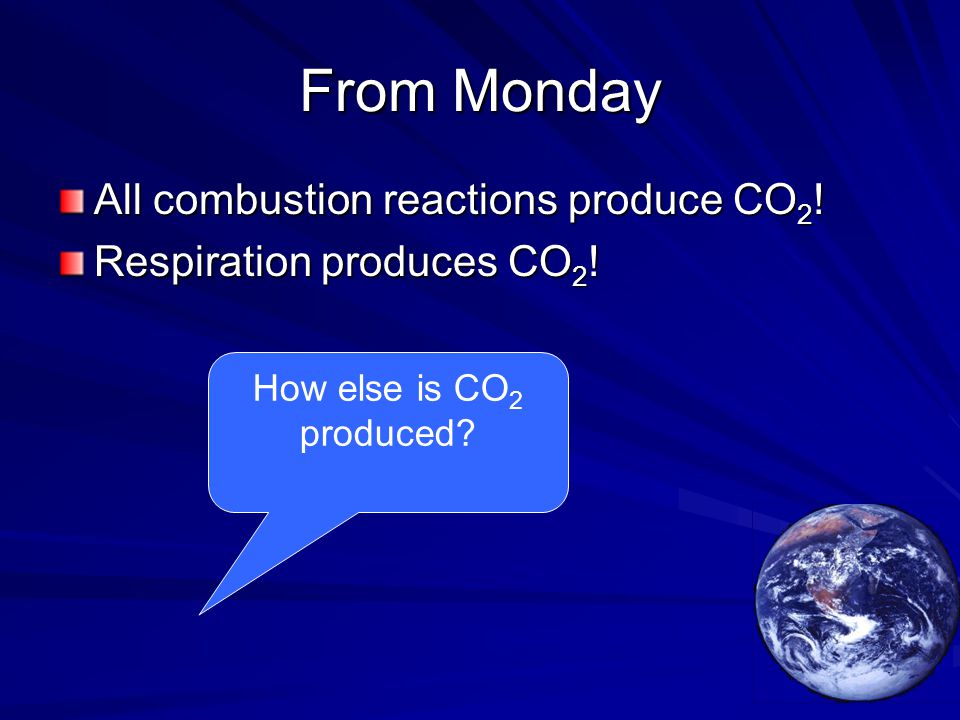 From Monday All combustion reactions produce CO 2 ! Respiration produces CO 2 ! How else is CO 2 produced?