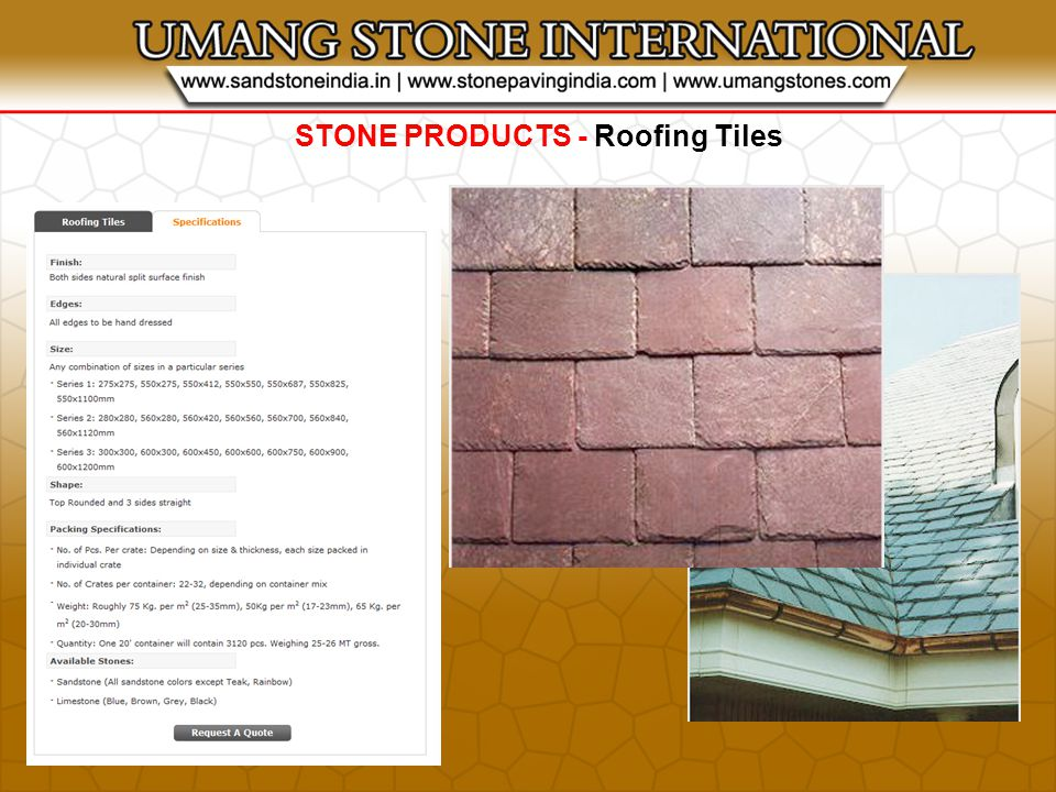 STONE PRODUCTS - Roofing Tiles