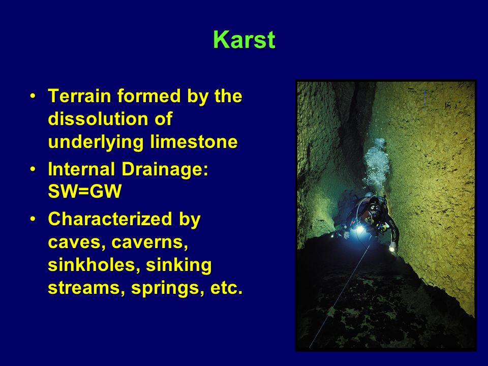 Karst Terrain formed by the dissolution of underlying limestoneTerrain formed by the dissolution of underlying limestone Internal Drainage: SW=GWInternal Drainage: SW=GW Characterized by caves, caverns, sinkholes, sinking streams, springs, etc.Characterized by caves, caverns, sinkholes, sinking streams, springs, etc.