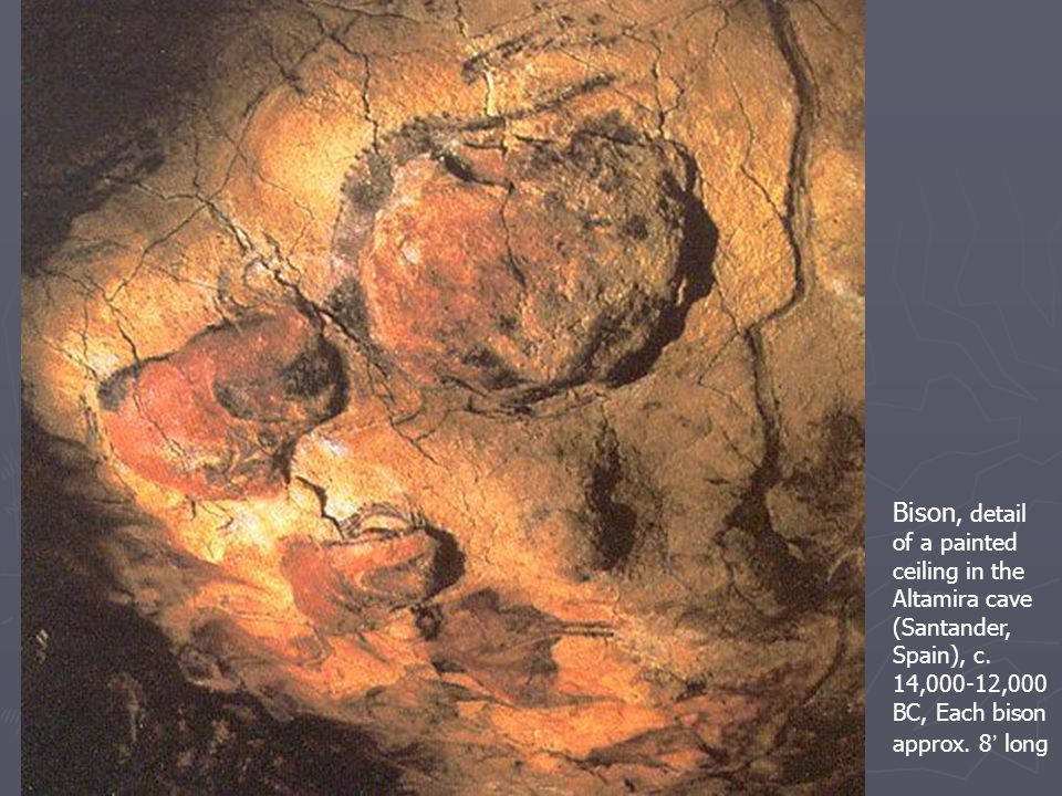 Bison, detail of a painted ceiling in the Altamira cave (Santander, Spain)