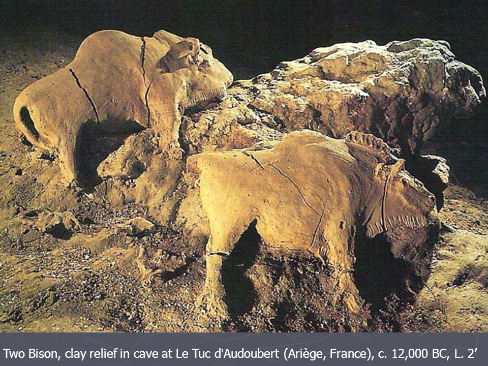 Two Bison, clay relief in cave at Le Tuc d ' Audoubert (Ariège, France), c. 12,000 BC, L. 2'