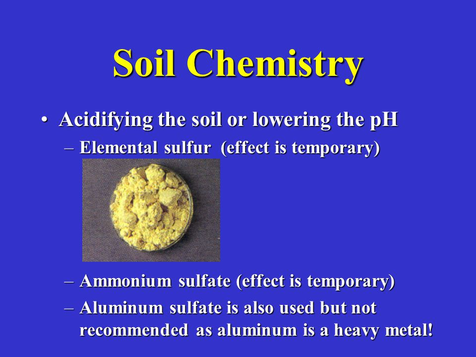 Soil Chemistry Acidifying the soil or lowering the pHAcidifying the soil or lowering the pH –Elemental sulfur (effect is temporary) –Ammonium sulfate (effect is temporary) –Aluminum sulfate is also used but not recommended as aluminum is a heavy metal!