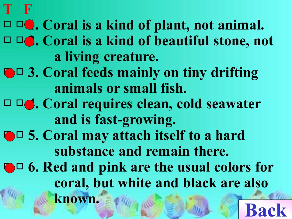 T F □ □ 1.Coral is a kind of plant, not animal. □ □ 2.