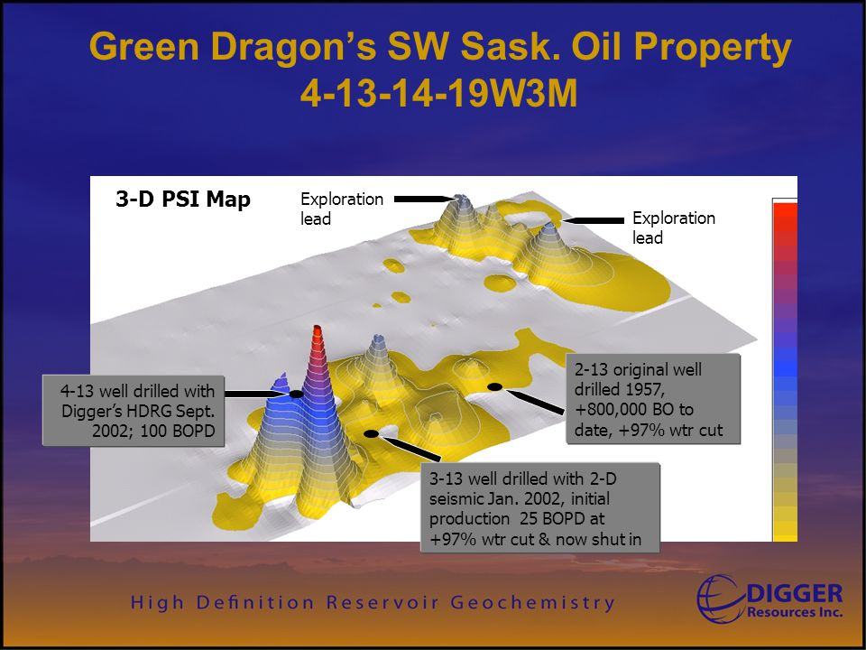 Green Dragon's SW Sask. Oil Property 4-13-14-19W3M 4-13 well drilled with Digger's HDRG Sept. 2002; 100 BOPD 3-13 well drilled with 2-D seismic Jan. 2