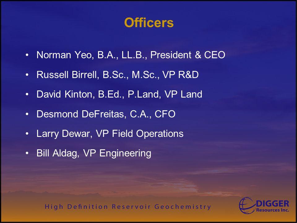 Officers Norman Yeo, B.A., LL.B., President & CEO Russell Birrell, B.Sc., M.Sc., VP R&D David Kinton, B.Ed., P.Land, VP Land Desmond DeFreitas, C.A., CFO Larry Dewar, VP Field Operations Bill Aldag, VP Engineering