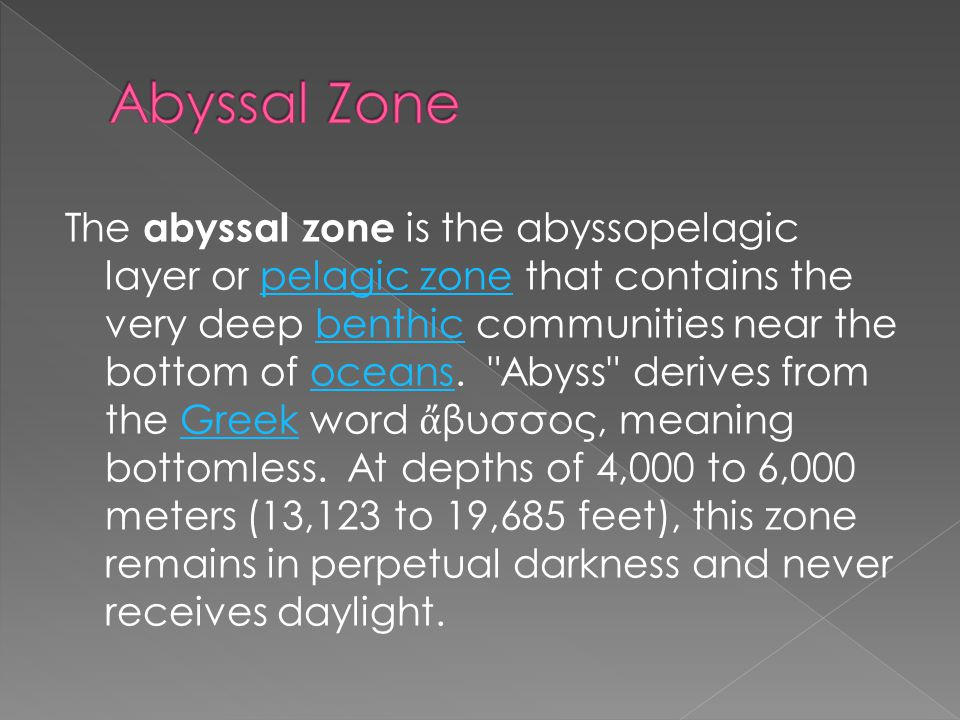 The abyssal zone is the abyssopelagic layer or pelagic zone that contains the very deep benthic communities near the bottom of oceans.